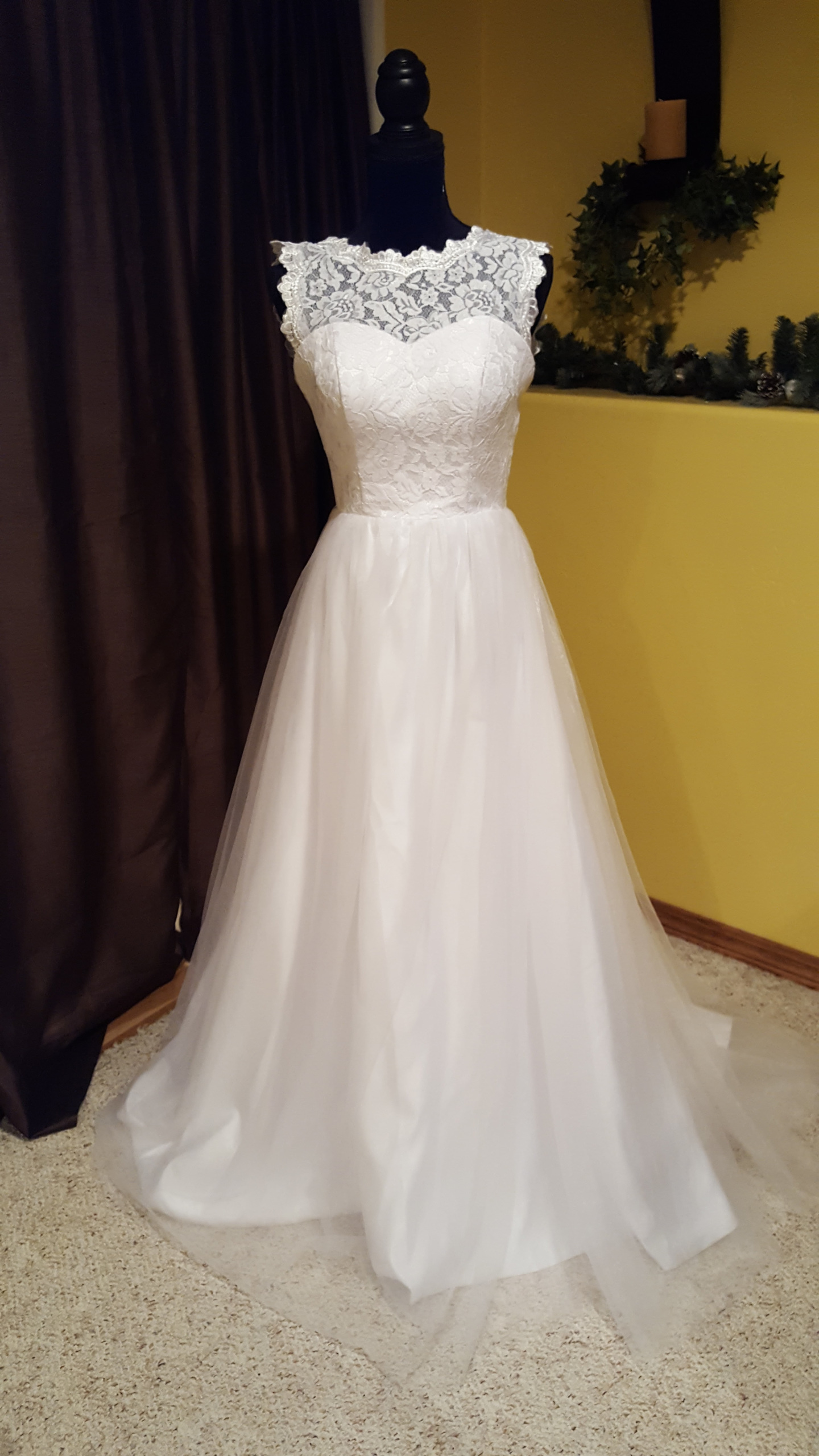 High Neck Lace Wedding Dress - My Sweet Melissa